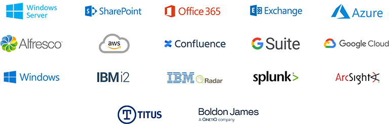 Windows Server Powerpoint Office365 Exchange Azure Alfresco AWS Confluence G Suite Google Cloud Windows IBMi2 IBMRadar splunk ArcSight Titus Boldon James